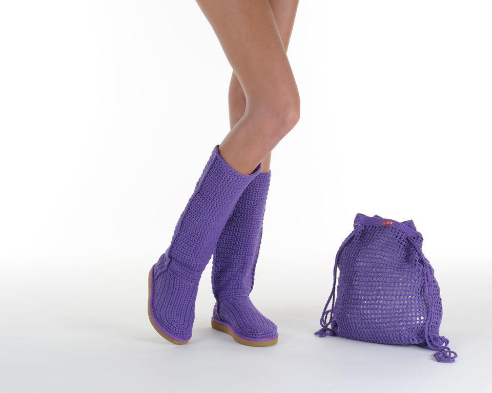 Летние вязаные сапоги Livs Classic Tall Dark Purple — фото анфас