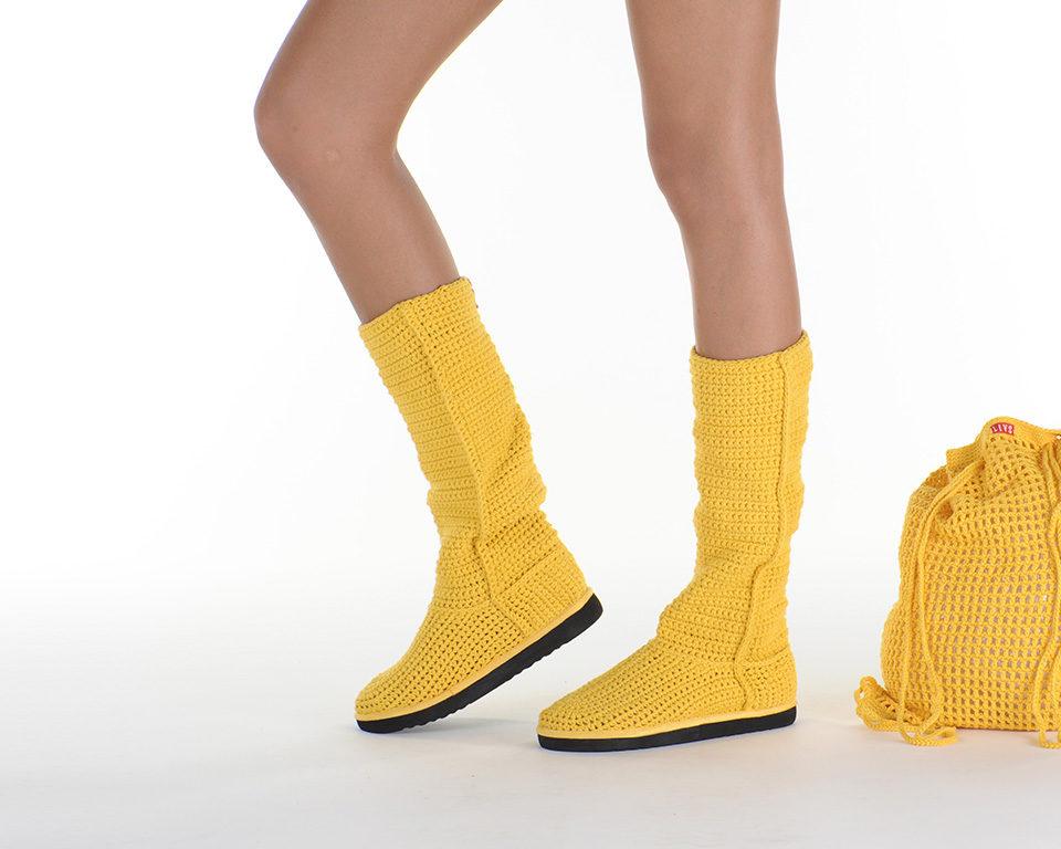 Летние вязаные сапоги Livs Classic Tall Rasta Yellow — главное фото