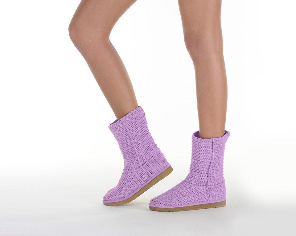 Летние вязаные сапоги Livs Classic Short Light Purple — фото сбоку