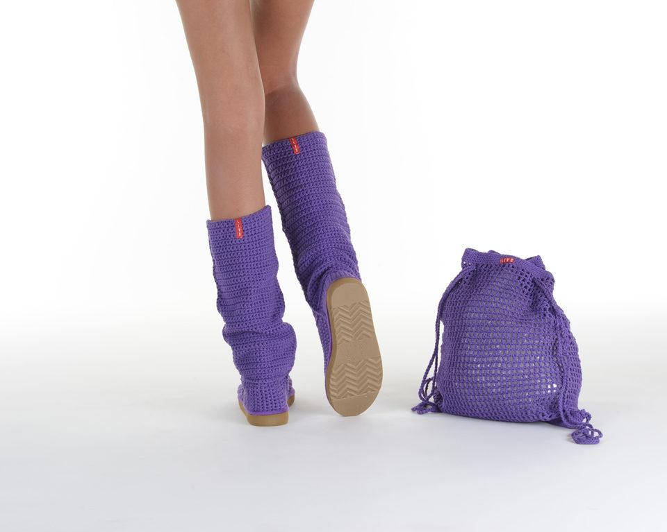 Летние вязаные сапоги Livs Classic Tall Dark Purple — фото сзади
