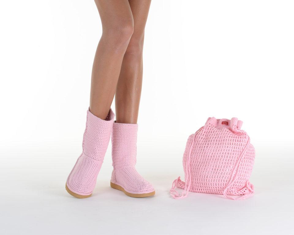 Летние вязаные сапоги Livs Classic Short Baby Pink — фото анфас