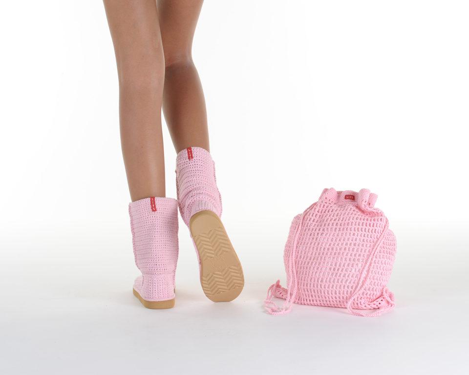 Летние вязаные сапоги Livs Classic Short Baby Pink — фото сзади