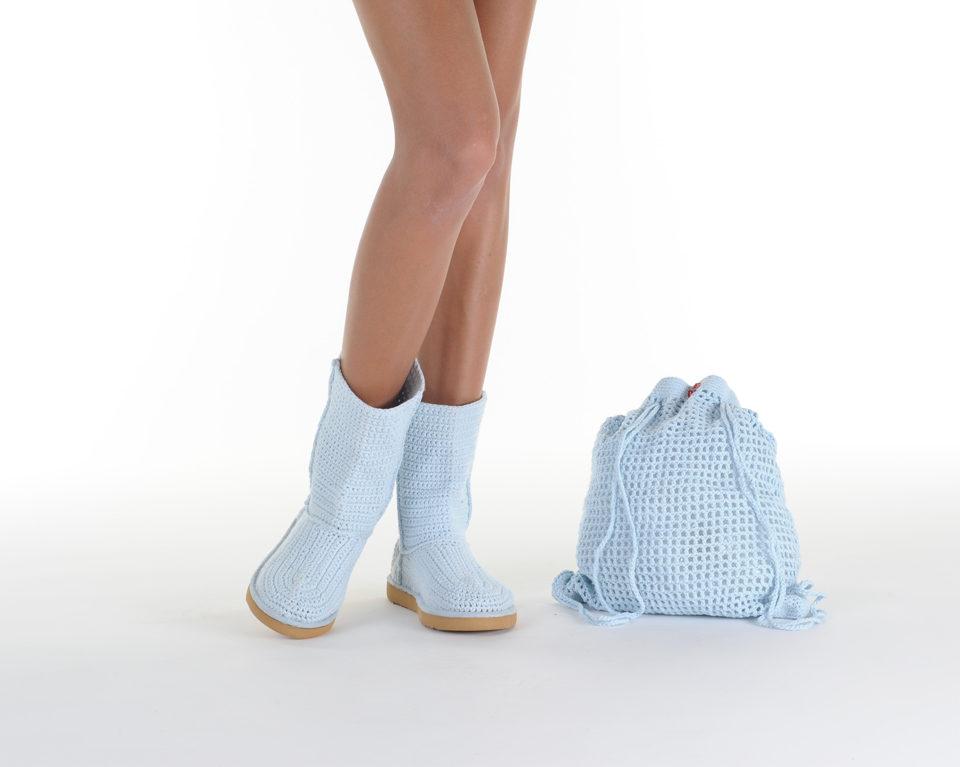 Летние вязаные сапоги Livs Classic Short Baby Blue — фото анфас