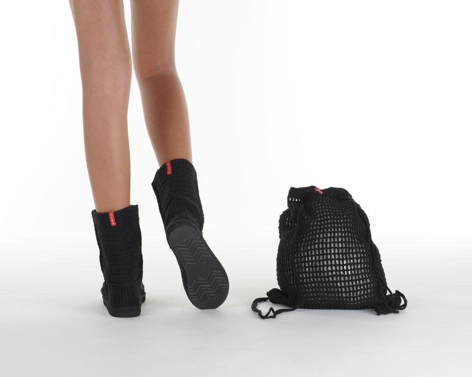 Летние вязаные сапоги Livs Classic Short Black — фото сзади