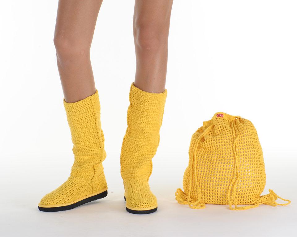 Летние вязаные сапоги Livs Classic Tall Rasta Yellow — фото анфас
