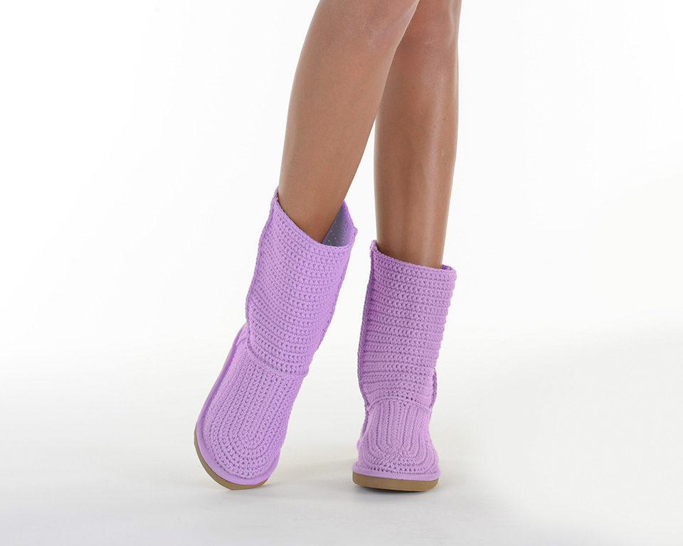 Летние вязаные сапоги Livs Classic Short Light Purple — фото анфас